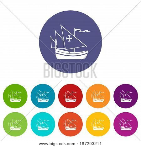 Ship of Columbus set icons in different colors isolated on white background