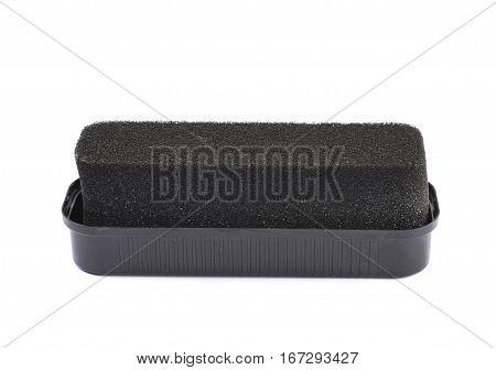 Black shoe polish sponge isolated over the white background