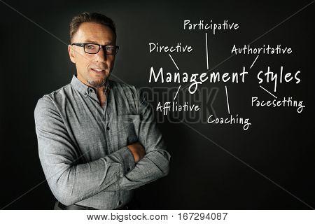 Management styles concept. Mature businessman on black background