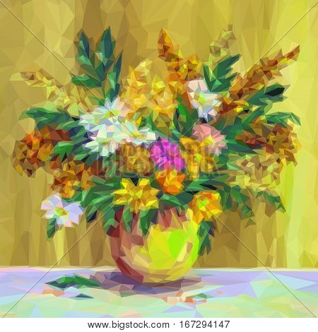 Summer Flowers Bouquet in a Vase, Low Poly. Vector