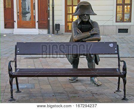 Bench With Bronze Sculpture Of Napoleon In Bratislava, Slovakia