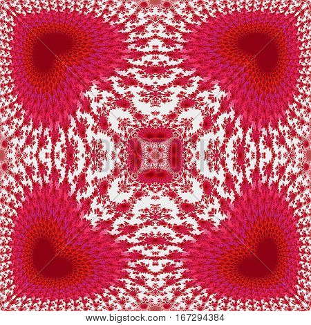 Abstract seamless kaleidoscopic fractal pattern with hearts and scalloped texture. Red and pink fractal background with romantic valentines ornamental pattern