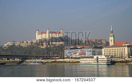 View On Bratislava Castle And Danube River, Slovakia