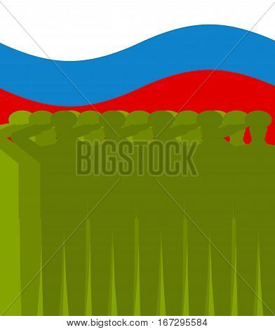 February 23 Background. Russian Military Salute And Flag Of Russia. Army National Holiday. Defenders