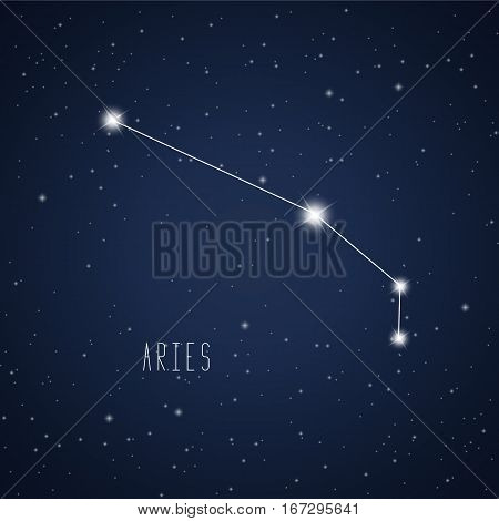Vector illustration of Aries constellation on the background of starry sky