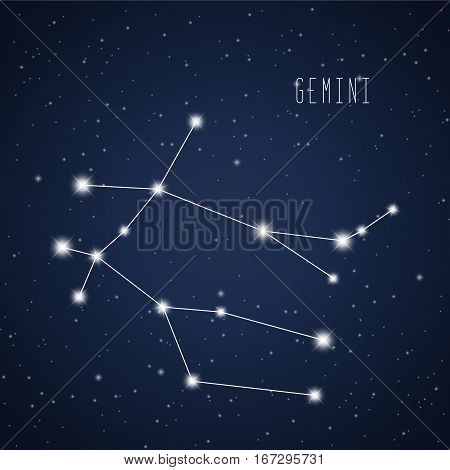 Vector illustration of Gemini constellation on the background of starry sky