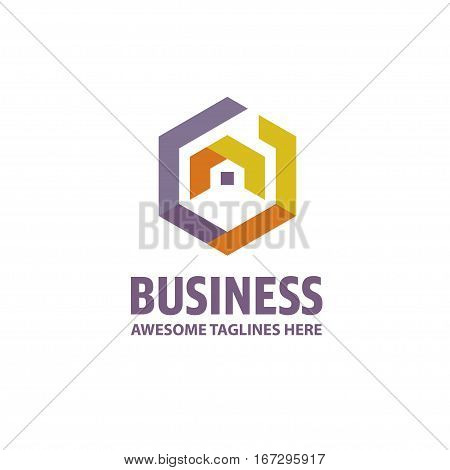 creative Real Estate logo, Property and Construction Logo design Vector , colorful homes logo concept, neighbor house logo. hexagon house logo vector
