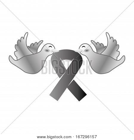Shape doves with breast cancer symbol in the beak icon design image