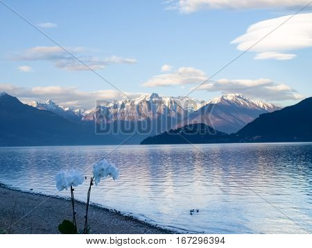 Pianello del Lario Como - Italy: Evening light at Lake Como with snow-capped mountains and cloudy particular conformations