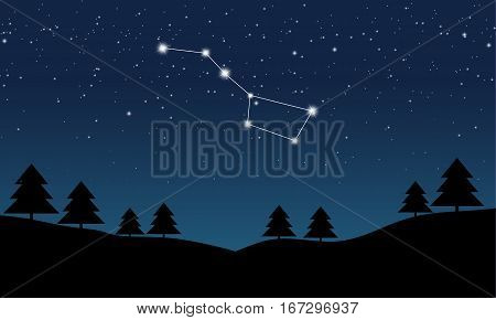 Vector illustration of Ursa Major constellation on the background of starry sky and night landscape