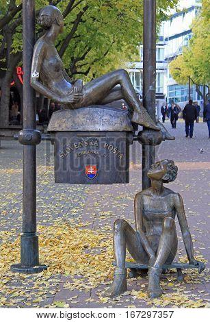 Bratislava Slovakia - November 4 2015: The sculpture located on the street of Bratislava Slovakia