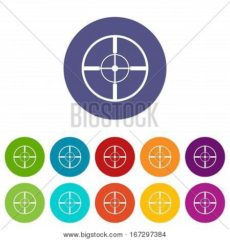 Aim set icons in different colors isolated on white background