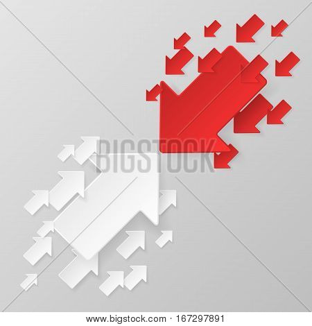 White arrows against red arrows. Bussiness concept. Competition, opposition. Vector illustration