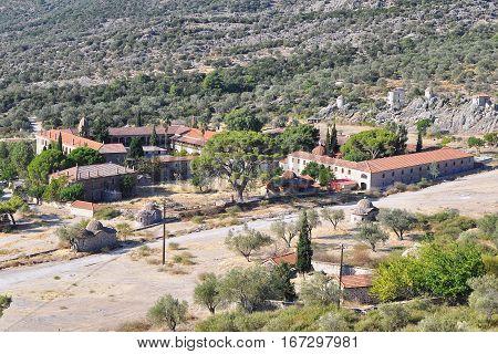 bird view onLimonos monastery on island Lesbos