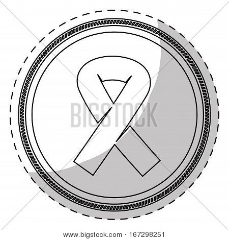 Contour breast cancer ribon signal design icon