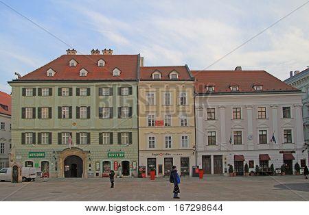 Bratislava, Slovakia - November 4, 2015: people are walking by the main square in Bratislava, Slovakia