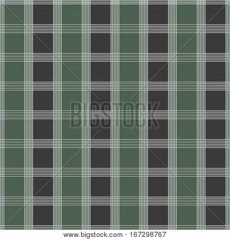 Seamless tartan pattern. Green and grey kilt fabric texture. Abstract vertical and horizontal lines. Vector illustration