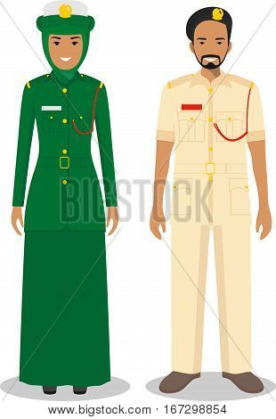 Couple of arabian police people isolated on white background. Set of policeman and policewoman standing together. Cute and simple in flat style.