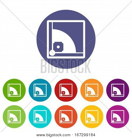 Baseball field set icons in different colors isolated on white background