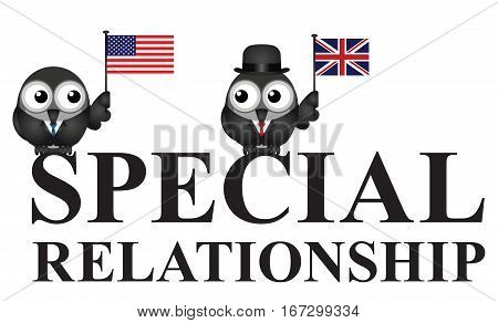 Representation of the USA UK special relationship isolated on white background
