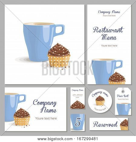 Set of corporate identity for a restaurant, cafe or confectionery, chocolate cake with cream in yellow wrapper with polka dots and blue cup on a white background