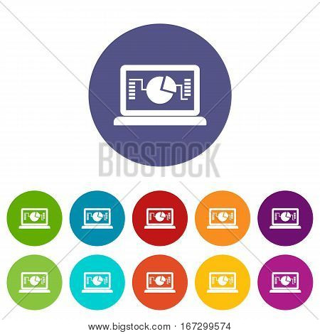 Laptop with business graph set icons in different colors isolated on white background