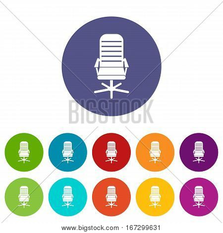 Office chair set icons in different colors isolated on white background