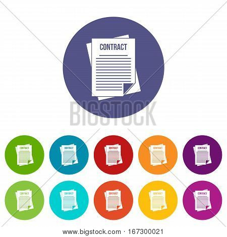 Contract set icons in different colors isolated on white background