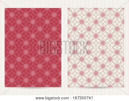 5X7 Inch Size Cards In Pink Color. Vector Luxury Templates For Restaurant Menu, Flyer, Greeting Card