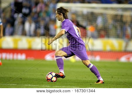 BARCELONA, SPAIN - SEPT, 18: Luka Modric of Real Madrid during a Spanish League match against RCD Espanyol at the RCDE Stadium on September 18 2016 in Barcelona Spain