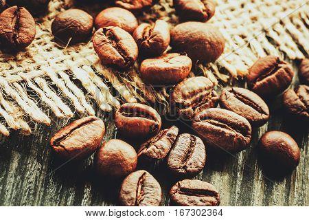 Coffee. Coffe beans on wood. Vintage coffee
