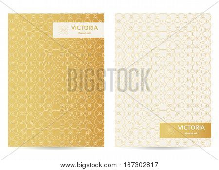 5X7 Inch Size Cards In Golden Color. Vector Luxury Templates For Restaurant Menu, Flyer, Greeting Ca