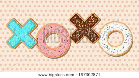 XOXO vector phrase made out of glazed donuts with sugar icing and decoration. Modern flat style. Halftone background.