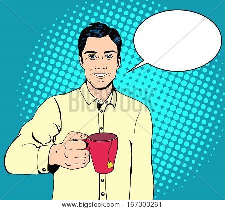 Vector smiling business man holding a mug with a tea bag. Lunch break concept. Copyspace available. Pop art retro style illustration, halftone background