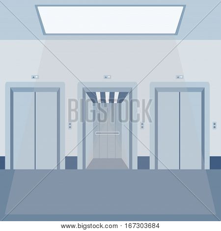 Open and close elevator doors modern metal realistic empty hall interior with waiting lift floor ceiling and wall vector