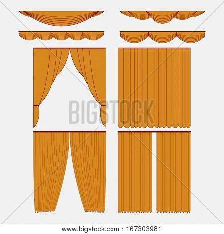 Set of gold silk velvet curtains and draperies interior decoration design ideas of the open and closed icons collection