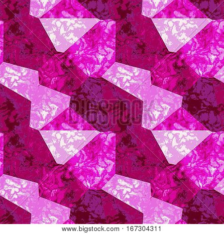 Abstract marbled texture of polygonal mottled shapes. Pink, red and white marble background of polygons