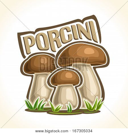 Vector logo Porcini Mushrooms: 3 wild cep mushroom on ground forest glade, cartoon still life lettering porcini on moss, outdoors nature label boletus edulis with inscription, organic california fungi
