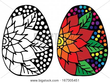 Hand drawn Easter egg with colorful flower for coloring book for adult and design elements. Can be used for card invitation posters texture backgrounds placards banners.