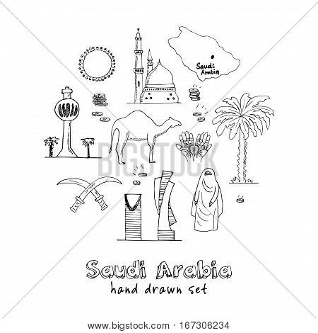 Handdrawn Illustration of Saudi Arabia Landmarks and icons with country English and Arabic Modern concept doodle sketch vector illustration