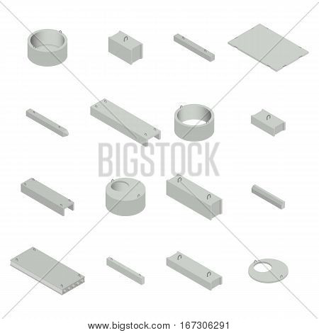 Big set of iron concrete products isometric view isolated on white background. Design elements for the construction and reconstruction vector illustration.