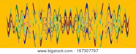 Multicolored abstract waveform pattern on orange background.Digitally generated image.