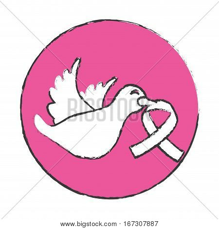 emblem dove with breast cancer symbol in the beak icon design image