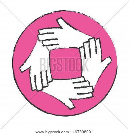 emblem hands together feminism related, vector illustration image