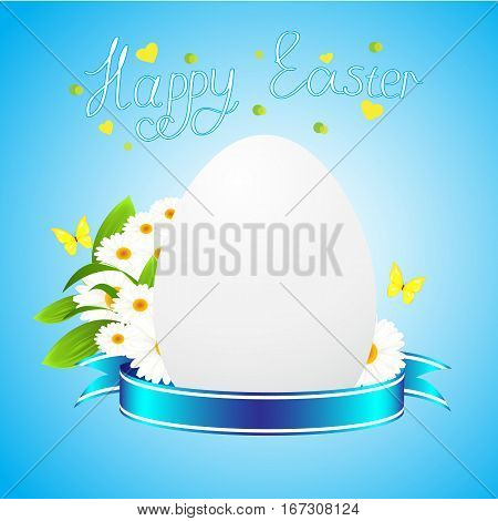 Easter egg, camomiles and butterflies on a blue background, a congratulation on a holiday of Happy Easter
