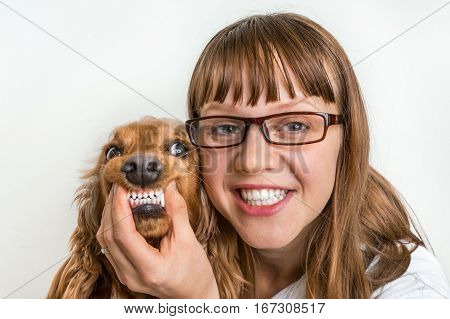 Funny smiling dog and veterinarian in veterinary clinic - animal and pet veterinary care concept