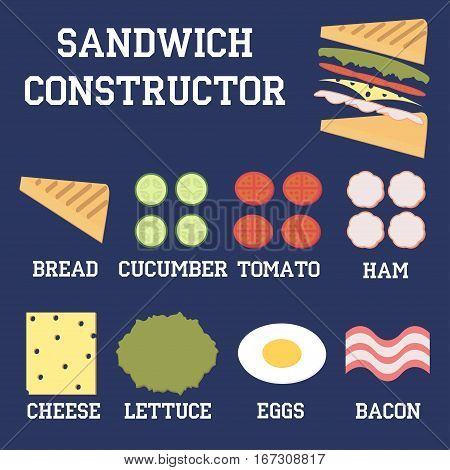 Insulated sandwich ingredients bread cheese meat and vegetables Isolated flat vector illustration Isothermic sandwich