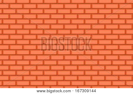 Cartoon Hand Drown Orange Realistic Seamless Brick Wall Texture. Vector Illustration