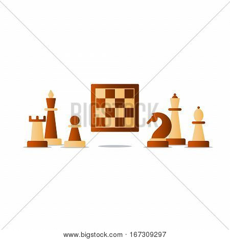 Chess board game, competition concept, knight icon, chess club vector illustration