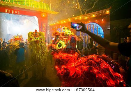KOLKATA WEST BENGAL INDIA - FEBRUARY 7TH : Celebration of Chinese new year at China Town Kolkata with Chinese red dragon . It is the year of the monkey as per chinese calender.